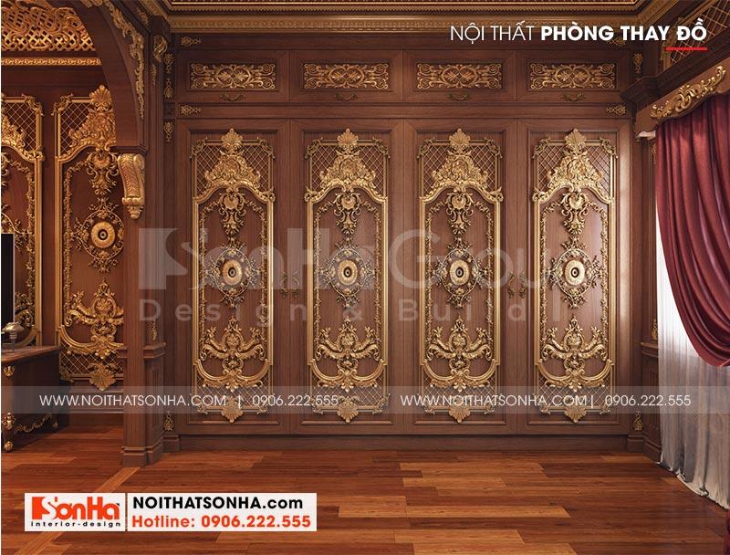 Mẫu nội thất khu thay đồ trong phòng ngủ vip biệt thự lâu đài xa hoa tại Hà Nội