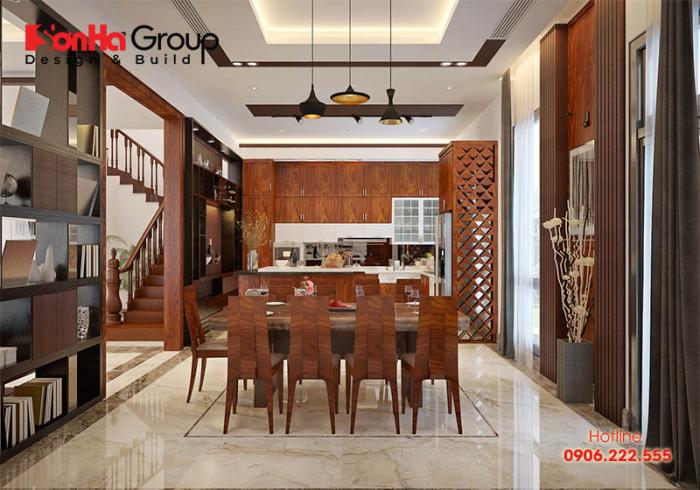 Căn phòng bếp hiện đại được bày trí sáng tạo và tiện nghi với phong cách ấn tượng này