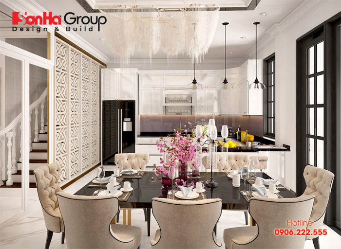 Thiết kế nội thất phòng bếp sang trọng và tiện nghi nhưng không kém phần ấm cúng mang phong cách tân cổ điển